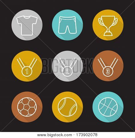 Sport games flat linear long shadow icons set. Soccer, basketball and tennis balls, gold, silver and bronze medals, winner's cup, sport uniform. Vector line illustration