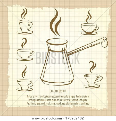 Vintage poster with coffee maker and cups of coffee. Vector hand drawn coffee design