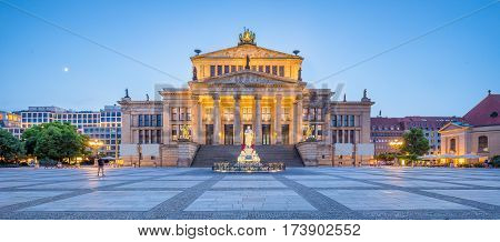 Berlin Concert Hall At Gendarmenmarkt Square Panorama At Dusk, Berlin, Germany