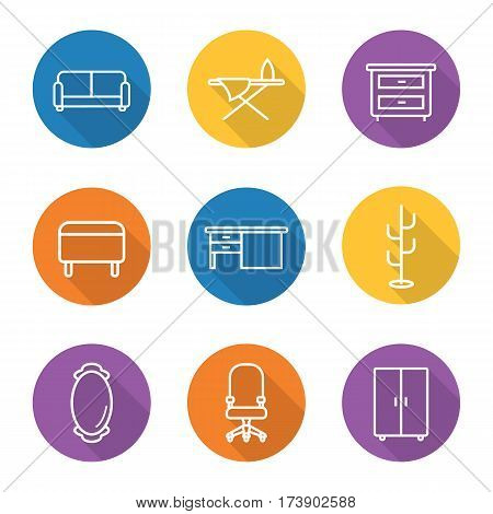 Furniture flat linear long shadow icons set. Room interior. Couch, wall mirror, wardrobe, bedside table, ironing board, writing desk, ottoman, hanger, computer chair on wheels. Vector line symbols