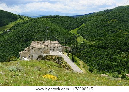 Historic town Elcito in Marche Italy in summer