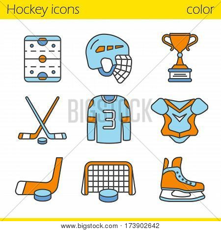 Hockey equipment color icons set. Helmet, puck and sticks, shirt, shoulder pad, gate, skate, winner's trophy, hockey rink. Isolated vector illustrations