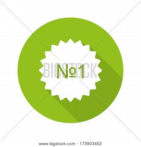 Number 1 green sticker. Flat design long shadow icon. Best product banner. Vector silhouette symbol