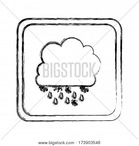 monochrome blurred square frame with cumulus of clouds with rain vector illustration