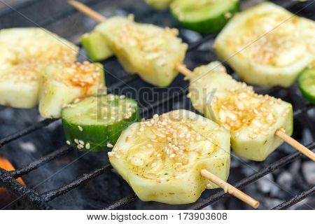 Zucchini And Cucumber On The Kebab Grilling