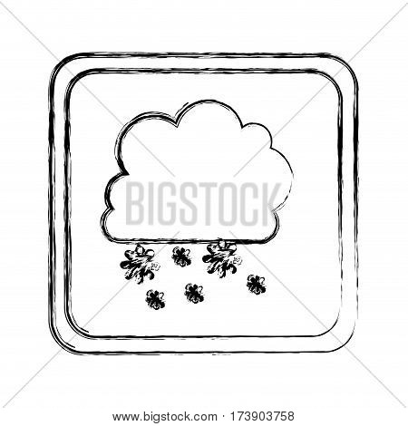 monochrome blurred square frame with cumulus of clouds and snow fall vector illustration
