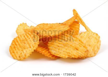 Pile Of Spicy Potato Chips