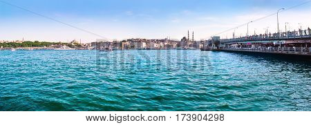 Panoramic View Of Famous Golden Horn With Bosphorus And Galata Bridge In Istanbul, Turkey