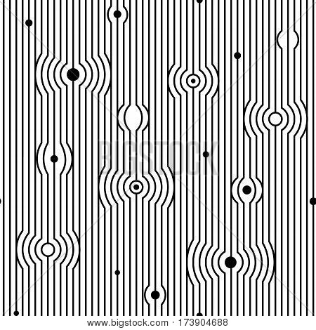 Abstract vector seamless moire pattern with waving circle lines. Monochrome op art graphic. Black and white ornament. Striped repeating texture.