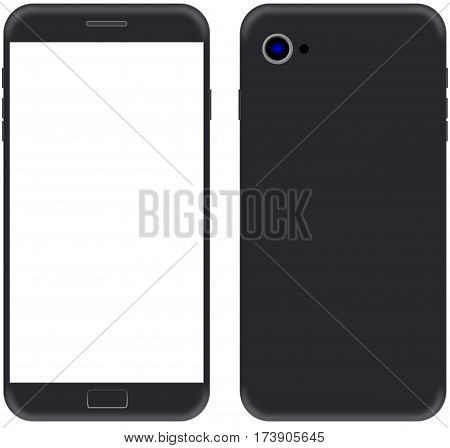 modern balck smart phone model with a black screen isolated on white background.