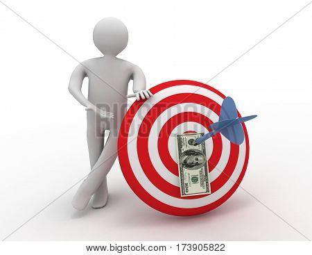 3d man with target. success concept on white