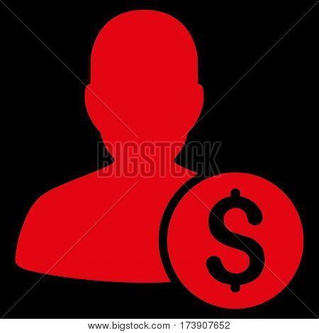 Investor vector icon. Illustration style is a flat iconic red symbol on black background.