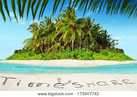 Whole Tropical Island Within Atoll In Tropical Ocean And Inscription