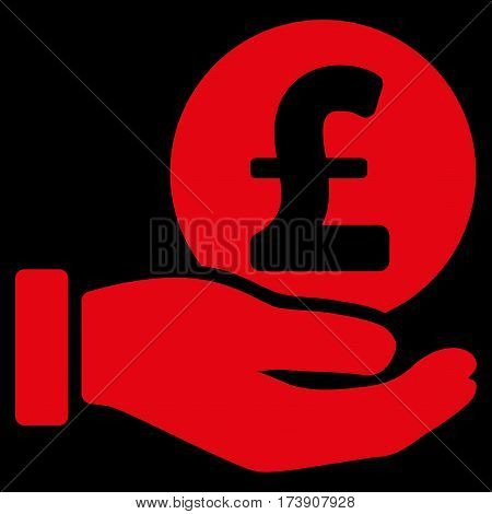 Pound Coin Payment Hand vector icon. Illustration style is a flat iconic red symbol on black background.