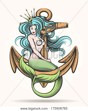 Beauty blue haired Siren Mermaid with golden crown sitting on the rusty anchor. Colorful Vector illustration in tattoo style. poster