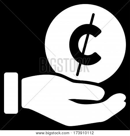 Cent Payment Hand vector pictogram. Illustration style is a flat iconic white symbol on black background.