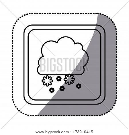 sticker monochrome square frame with cumulus of clouds and snow fall vector illustration