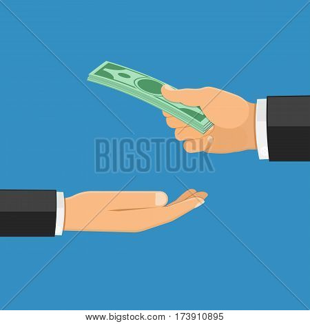 Hand giving cash, the other hand takes the money. Salary, donation, investment, payment concept. Isolated vector illustration