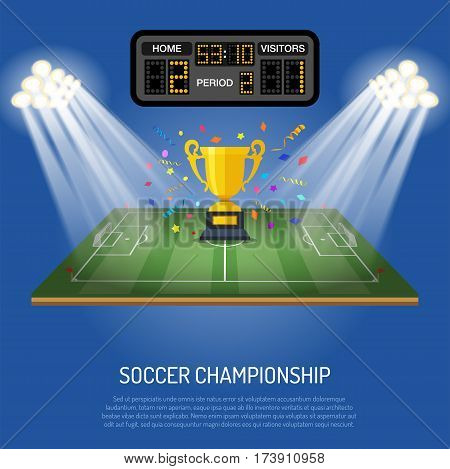 Soccer stadium with flat icons scoreboard, spotlight, goal and award, vector illustration