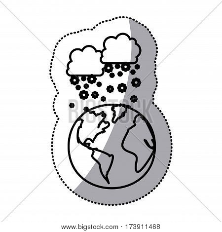 monochrome sticker contour with cumulus of clouds and snow fall over planet earth vector illustration