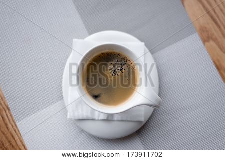 top view Cup of coffee on the table