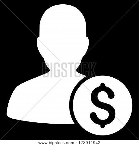Investor vector pictogram. Illustration style is a flat iconic white symbol on black background.