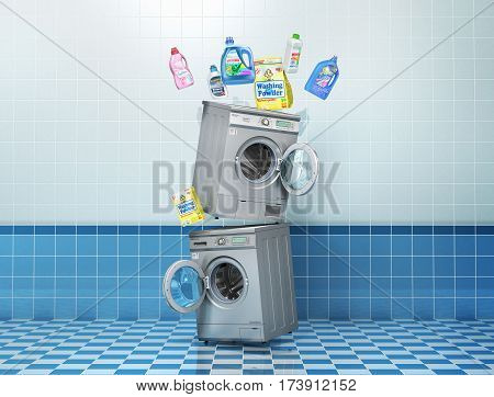 Washing concept. Detergents bottles and washing powder near washing and dryer machine on a tile background. 3d illustration