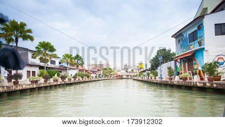 Melaka, Malaysia - January 19, 2014: Malacca City With House Near River Under Blue Sky In Malaysia