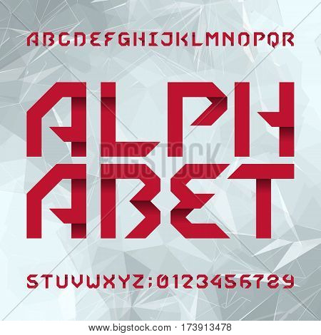 Decorative alphabet typeface. Type letters and numbers on a light сoloured polygonal background. Vector font for your design.