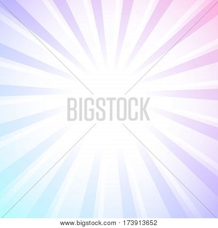 Abstract background with white rays of light on pastel colored background. Vector illustration. Vintage sunburst