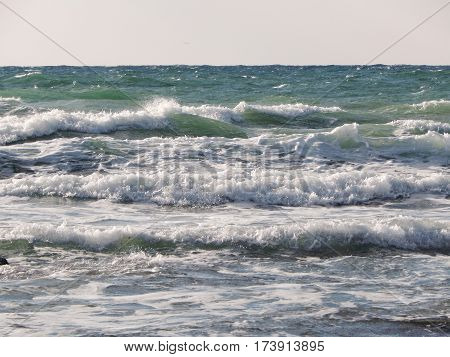 Waves on the Caspian Sea. Month January.