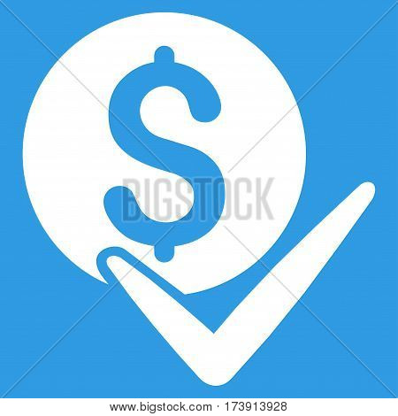 Accept Payment vector pictograph. Illustration style is a flat iconic white symbol on blue background.