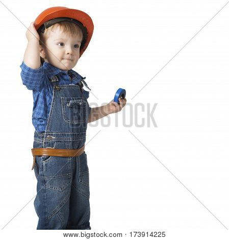 Toddler In Hardhat Isolated On White