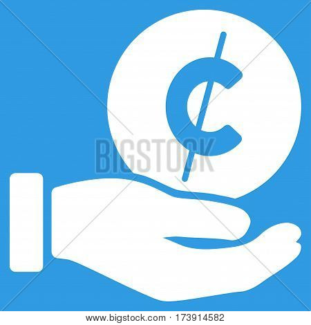 Cent Payment Hand vector pictogram. Illustration style is a flat iconic white symbol on blue background.