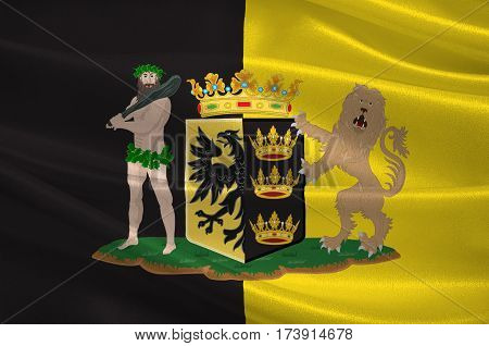 Flag of Sneek is a city southwest of Leeuwarden and seat of the former municipality of Sneek in the province of Friesland in Netherlands. 3d illustration