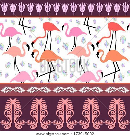 Flamingo pattern with diamonds, lotus and leaves ornaments. Ethnic textile collection.