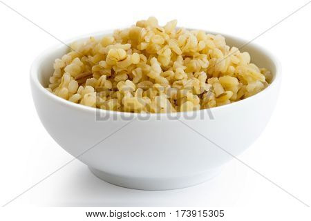 Cooked Bulgur Wheat In White Ceramic Bowl Isolated On White.