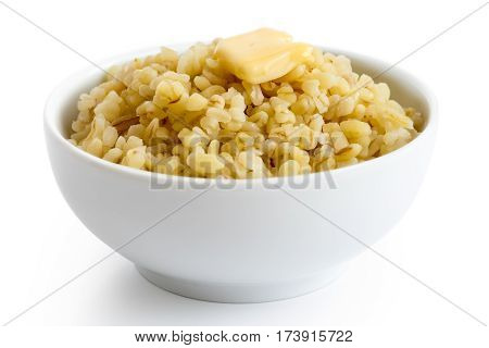 Cooked Bulgur Wheat With Butter In White Ceramic Bowl Isolated On White.