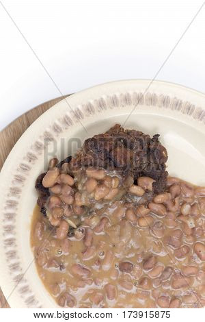 Cooked Beans With Meatballs Served On The Plate