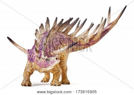 Kentrosaurus dinosaur toy isolated on white background with clipping path. Toy with Deep Of Field