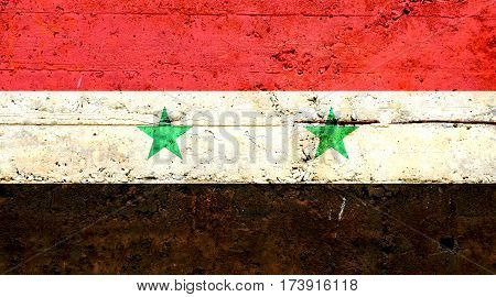 Syrian flag concrete texture. Abstract flag background