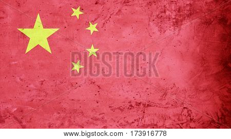 Chinese flag cement texture. Abstract flag background