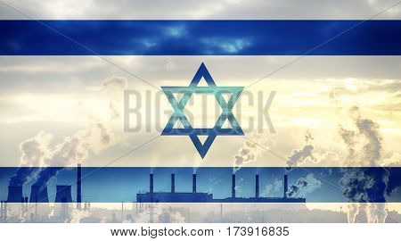 Israeli flag against industrial landscape. Abstract flag background