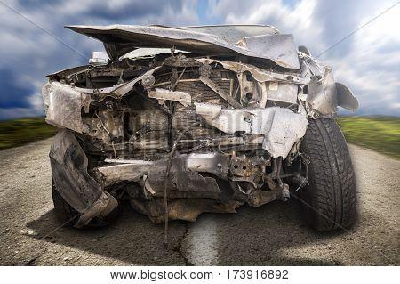 Car crash accident on street damaged cars after collision.