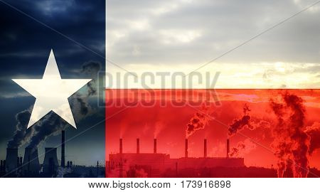 Texas flag against industrial landscape. Abstract flag background