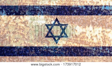 Israeli flag rusty metal texture. Abstract flag background