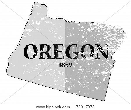 Oregon State And Date Grunged