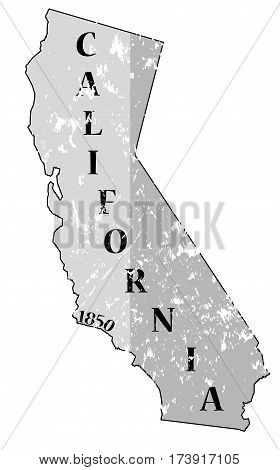 California State And Date Grunged