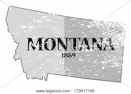 Montana State And Date Grunged