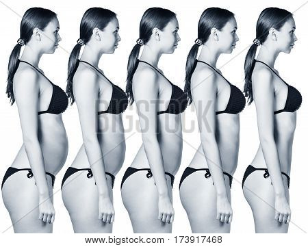 Collage of female body showing weight loss phases over white background